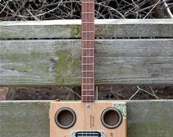 4-String Cigar Box Guitar Deluxe LC w/Rails Humbucker by Rose Instruments