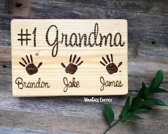 Gift for Grandma, Custom Mothers Day gift, Custom Grandparents sign, Grandma gift, Mother's Day gift, #1 Grandma, WOOD BURNED sign,