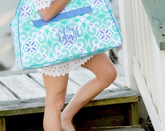 Mint and Periwinkle Monogram Beach bag, beach tote bag, embroidered tote bag, bridal shower gift, honeymoon gift, bride gift, beach tote