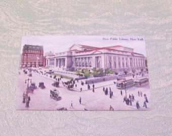 Vintage New Public Library New York City 1915 postcard