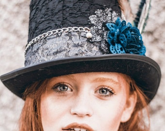 Lace top hat, silver & black magician hat, magic hat, 1920's top hat, top hat for woman, steampunk hat, alice in wonderland hat, tea party