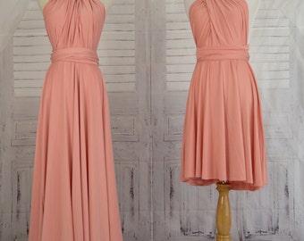 Bridesmaid dress Wrap dress Convertible Infinity Dress Evening Dresses  Peach echo infinity Dress-C13#B13#