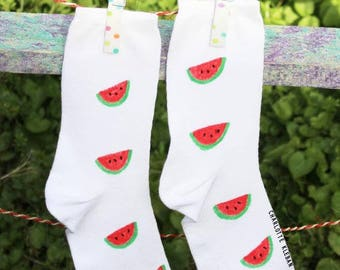 Hand drawn watermelon pattern Summer fruit socks size 3-8 (36-42) and men's larger size 9-13