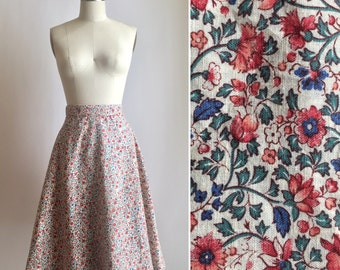 70s wrap skirt S/M ~ vintage micro floral skirt ~ big side buttons