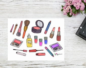 Planner stickers make up stickers cute cosmetics stickers