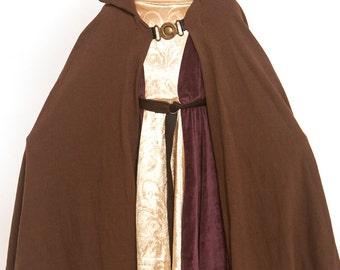 Luke Skywalker costume, Star wars gown, Brown cloak, Obi-Wan Kenobi costume, long robe, hooded gown, gown, frock,linen gown