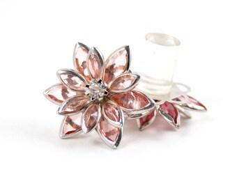 9/16 1/2 7/16 00g 0g 2g 4g 1 PAIR Light Pink Peach Rhinestone Flower Plugs Gauges Tunnels Studs Wedding Bridal Bridesmaid
