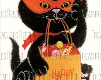 Black Kitty Cat Trick or Treating Halloween Card #577 Digital Download