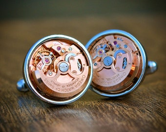 Omega Cufflinks Automatic Watch Movement Cufflinks - Silver