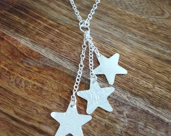 Handmade Sterling Silver Triple Star Necklace, Astral Necklace, Silver Necklace, Handmade Jewellery, Star Necklace