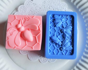 bee soap - bumblebees - square soap - homemade glycerin soap - scented soap - soap gift for her - guest soap