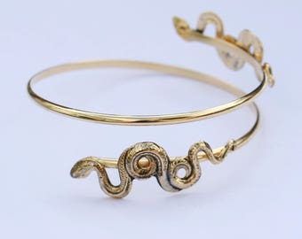 1970's Snake Arm Cuff // Gold Plated Bangle // Made in England // Unusual Vintage Jewellery