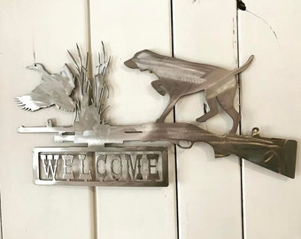 Duck Hunting Welcome Sign Metal Wall Art Home Decor