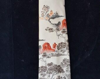 Vintage 1960's Men's Oleg Cassini Asian Style Wide Tie