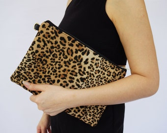 Medium Leopard Clutch Messenger , Messenger Clutch,Personalize Bridesmaids Clutch,Leather Bag , Wild Animal Bag, Vegan , CYBER MONDAY