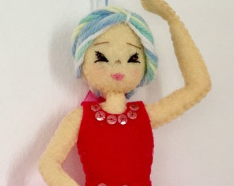 Ballerina Sylvie. Felt doll made entirely by hand. Dance collection. Ballerina in felt