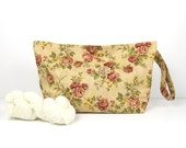 Medium wide knitting bag with roses, floral straight needle project bag with snaps, 3 skein knitting storage