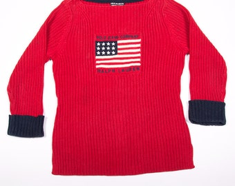 Vintage Ralph Lauren RL Polo Jeans Company Red Stars and Stripes Knit Top