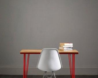 Red Inlay Oak Hairpin Desk - Striking Design