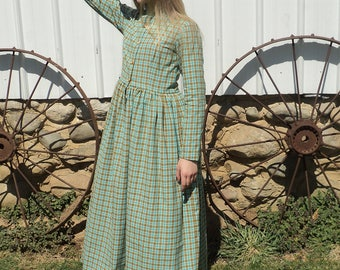 """Simple """"Homespun""""  Plaid size 14 girl's pioneer prairie Oregon Trail Cotton old fashioned costume dress--Betty --READY-TO-SHIP"""