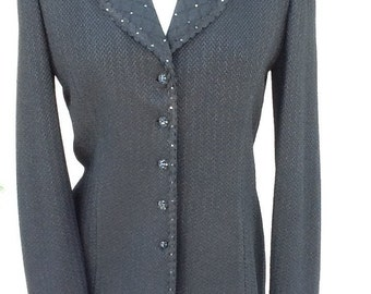 St. John Evening by Marie Gray Black Hip Length Beaded Jacket - Size 6