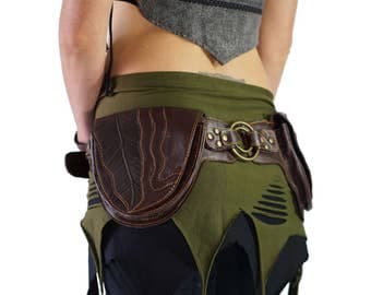 RINGS TURQUOISE - Handmade Leather Utility Belt With Pockets Renaissance Pouch Belt Festival Burning Man Belt Steampunk Belt-  BROWN