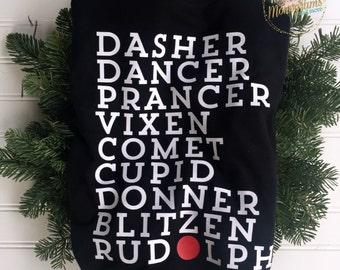 Santas Reindeer Rudolph Christmas Ladies Short Sleeve Shirt ~ Rudolph The Red Nosed Reindeer