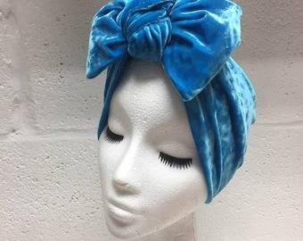 Turquoise Velvet Bow Turban Headband