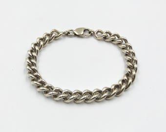 Heavy Sterling Silver Curb Chain Link Bracelet | Chunky Charm Bracelet 42.9 grams