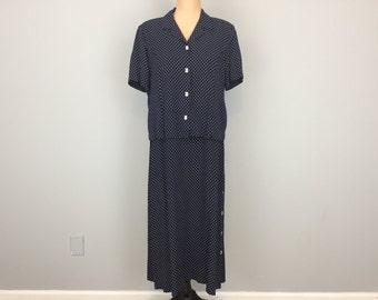 2 Piece Dress Sleeveless Dress With Jacket Short Sleeve Navy Blue White Dress Nautical Clothing Swiss Dots Polka Dots Large Womens Clothing