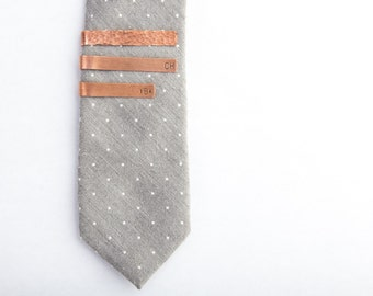 Copper Tie Clip, Skinny, Standard, Hammered, Smooth