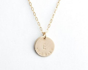 "1/2"" Round Disc Necklace, 13mm, Initial and Date, Gold Filled, Sterling Silver, Rose Gold Filled"
