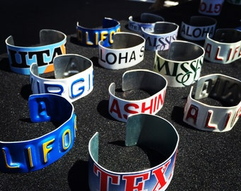 State Cuff, unique, bracelet, one of a kind, license plate jewelry