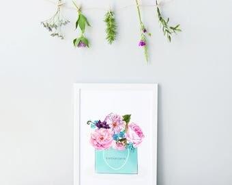 Tiffany & Co Print. Fashion Print. Fashion illustration. Watercolor artwork. Fashion Illustration. Modern Home Décor.