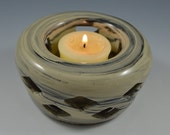 Candle Luminary cream and black marbleized, Votive Candle holder - Hand Carved Pottery