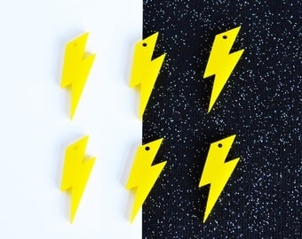 Yellow laser cut acrylic lightning bolt charms | set of 6 | color & size options available