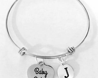 Baby Sister Gift, Sister Bangle Bracelet, Initial Bangle, Little Sister Gift Bracelet