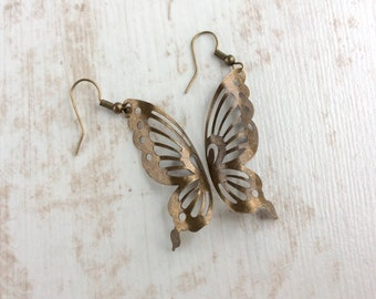 Butterfly Wing Earrings. Butterfly Earrings. Large Earrings. Antique Bronze Earrings. Light Earrings. Big Earrings. Wing Jewellery. Wings