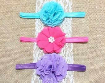 Baby Headband Set, Girls Headband Set, Baby Headbands, Infant Headbands, Set of 3 Headbands,Toddler Headband, Baby Bow Headbands - Baby Gift