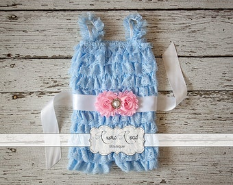 Light blue romper, lace romper with sash, birthday outfit, baby romper, girls romper, lace ruffle romper, blue and pink romper