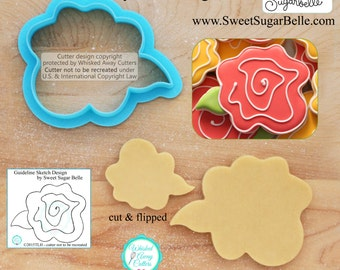Wonky Rose Cookie Cutter and Fondant Cutter by Sweet Sugar Belle - **Guideline Sketch to Print Below**
