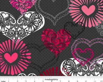 Valentine Heart Fabric, Gray, Red, Pink, Henry Glass Adore 1036 99, Valentine Day Fabric, Valentine Quilt Fabric, Heart Quilt Fabric, Cotton