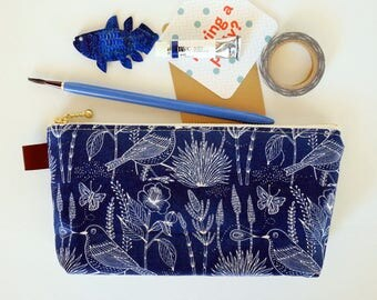 Blue pencil pouch, zipper pencil case, blue zipper pouch, perfect gift for student, EpiPen pouch, back to school