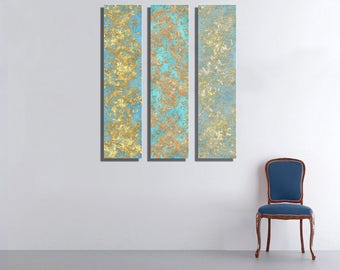 Blue Large Vertical Thin Panel Metal Abstract Wall Art