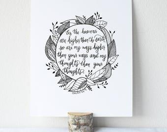 Isaiah 55:9 Printable Bible Verse Art Print 8x10 Digital Wall Art Gift