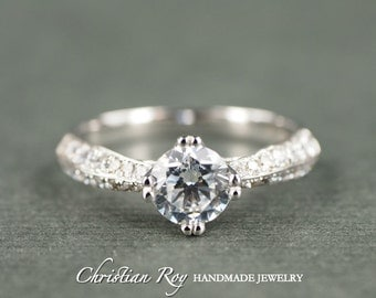 Round Cut Diamond Simulant Engagement Ring - Sterling Silver CZ Cubic Zirconia (#CRRMR013SS)