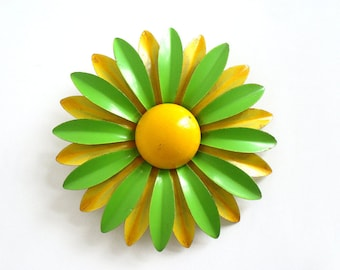 Vintage 1960s large enamel flower brooch in bright yellow and green