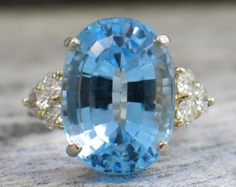 Oval Topaz and Diamond 14K Gold Ring