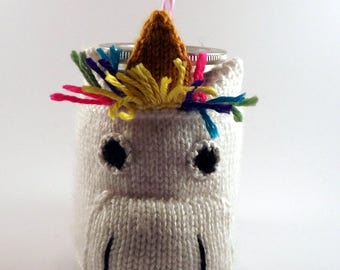 Knitted Unicorn Coffee Cozy - To-Go Sleeve - Knitted To-Go Sleeve - Knitted Coffee or Tea Cozy