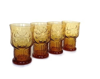 Vintage Libbey country garden set of 4 daisy glasses gifts for mom